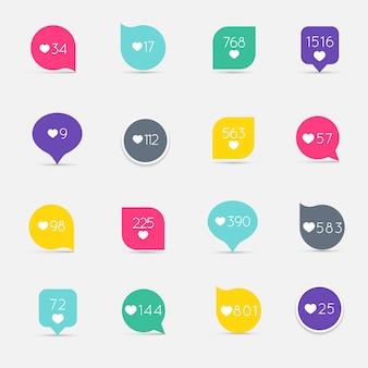 Like counter button icon set.
