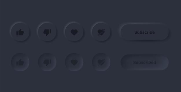 Like dislike love unlove-symbol in schwarzen neumorphismus-buttons mit abonnieren- und benachrichtigungssymbolen