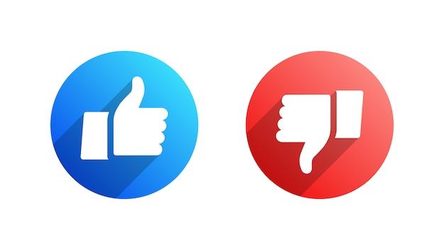 Like und dislike flache symbole