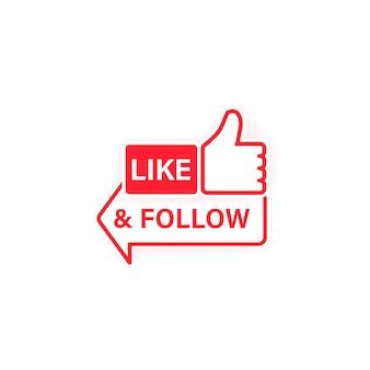 Like und folge dem symbol. daumen hoch. symbol für soziale netzwerke im flachen stil mit schatten. vektor auf weißem hintergrund isoliert. eps 10.