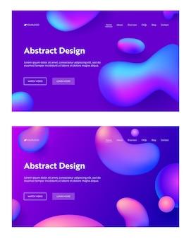 Lila abstrakte realistische tropfenform landing page hintergrund set. futuristisches digitales 3d-gradientenmuster.