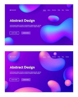 Lila abstrakte realistische tropfenform landing page hintergrund set.