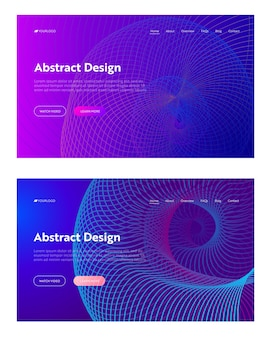 Lila abstrakte spiralgitterform landing page set vorlage hintergrund. golden helio digital helix flow gradient pattern. dynamischer bunter virtueller 3d-hintergrund für website-webseiten-vektorillustration