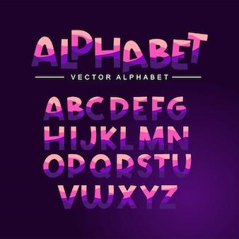 Lila alphabet gesetzt