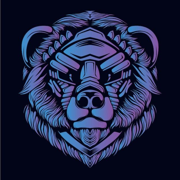 Lila bärenkopf illustration