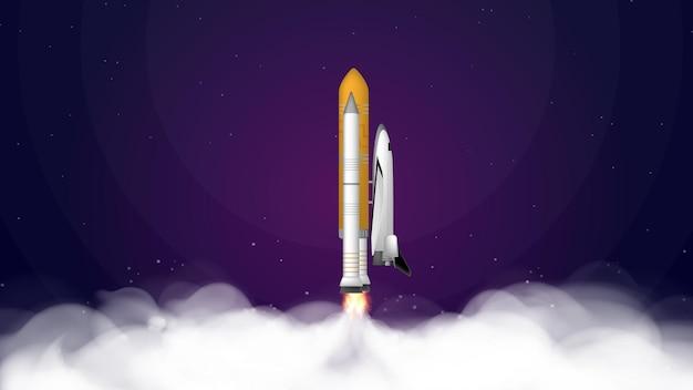 Lila banner zum thema des kosmos des kosmos. space shuttle. kämpfer.