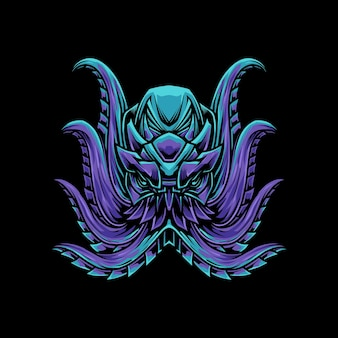 Lila blaue kraken-t-shirt illustration
