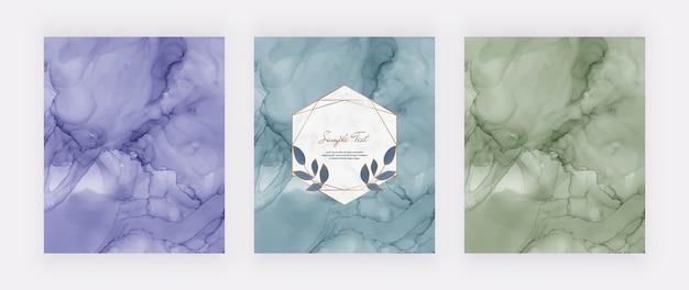 Lila blaue und grüne alkoholtintenbeschaffenheit mit geometrischem marmorrahmen