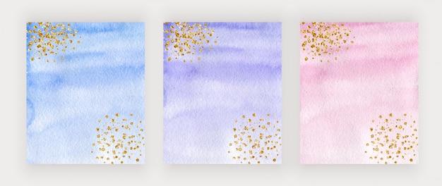 Lila, blaues und rosa aquarellabdeckungsdesign mit goldglitterstruktur, konfetti