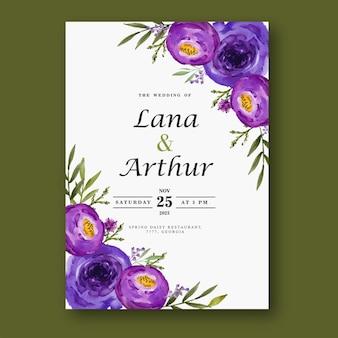 Lila blumenaquarellhochzeitskarte