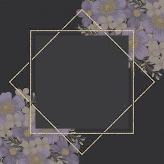 Lila blumenhintergrundblumengrenze