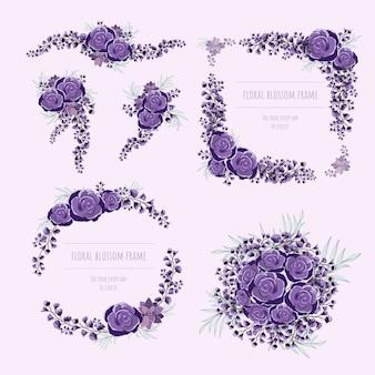 Lila blumenrahmen für einladungskarten und grafiken.
