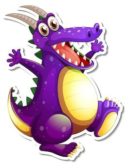 Lila drache-cartoon-charakter-aufkleber