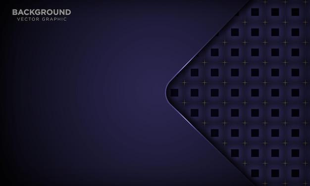 Lila dynamischer hintergrund im abstrakten papierstil mit metallic-effekt und quadratischem muster Premium Vektoren