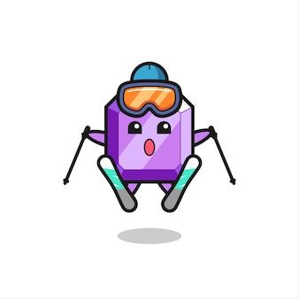Lila edelstein-maskottchen-charakter als skispieler, süßes stildesign für t-shirt, aufkleber, logo-element