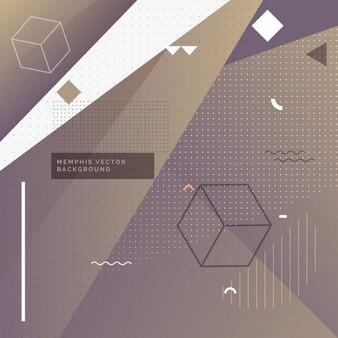 Lila elegant memphis hintergrund mit geometrischen formen