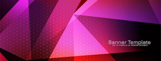 Lila farbiges banner im geometrischen stil