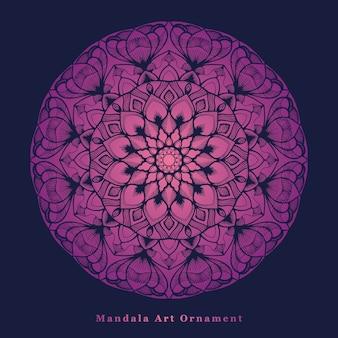 Lila farbverlaufs-mandala-kunst mit blumenformen