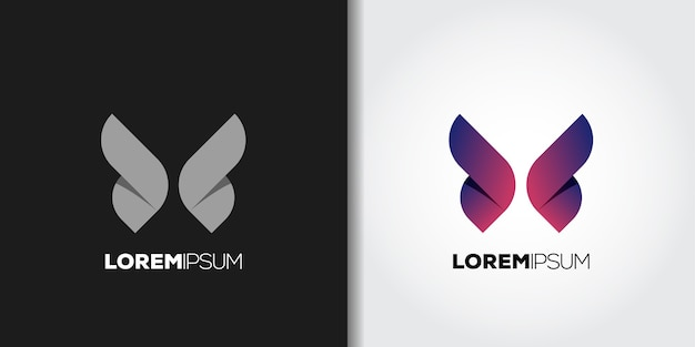 Lila flügel logo set idee