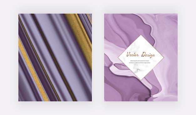 Lila flüssige tinte mit goldglitterabdeckungen für einladungen