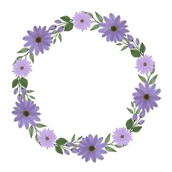Lila gänseblümchen-kranzkreisrahmen mit lila gänseblümchen-aquarellgrenze