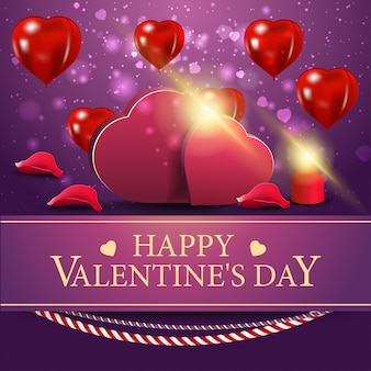 Lila grußkarte für valentinstag mit zwei herzen
