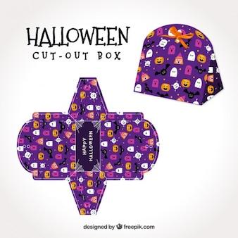 Lila halloween-box mit fledermäuse und gespenster