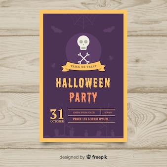 Lila halloween party flayer vorlage