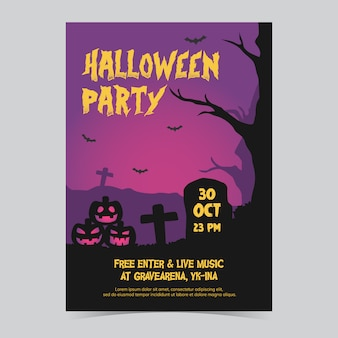 Lila halloween-party-flyer druckvorlage
