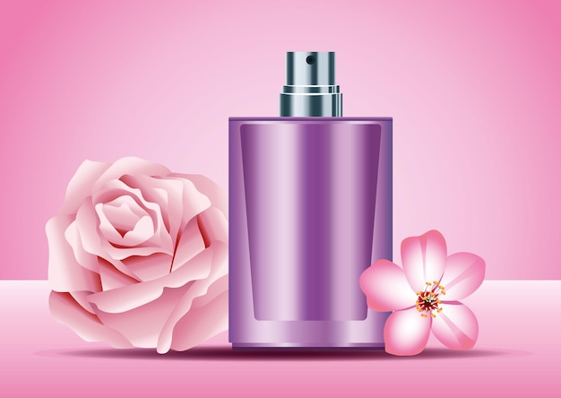 Lila hautpflege-sprühflaschenprodukt mit rosa blumenillustration