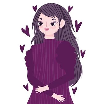Lila herzen des jungen frauenporträts lieben karikaturillustration