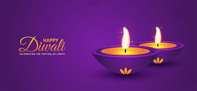 Lila hintergrund des glücklichen diwali-festspielbanners