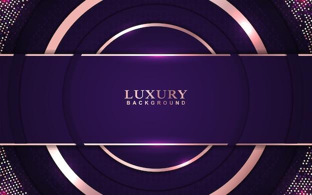 Lila hintergrund des luxus mit roségoldener dekoration