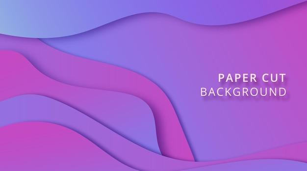 Lila hintergrund mit farbverlauf auf abstraktem paper cut style