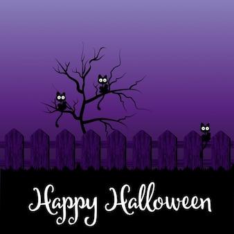 Lila hintergrund mit schwarzen katzen auf halloween-nacht