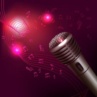 Lila hintergrund-musik mit mikrofon