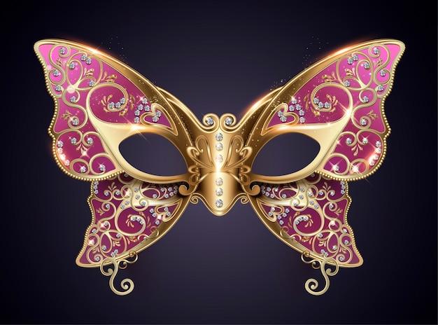 Lila karnevalsschmetterlingsmaske mit diamanten im 3d-stil