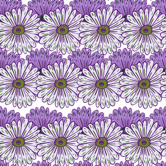 Lila konturierte dekorative sonnenblumenelemente nahtlose doodle-muster. isolierte natürliche kunstwerke. vektorillustration für saisonale textildrucke, stoffe, banner, hintergründe und tapeten.