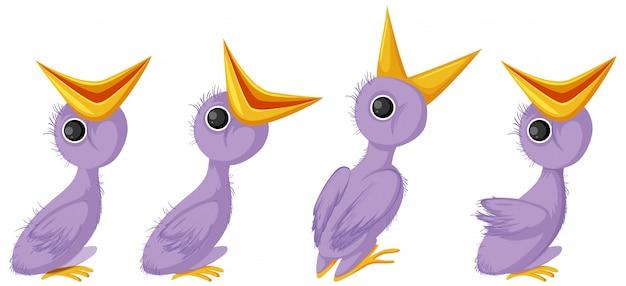 Lila küken-zeichentrickfigur