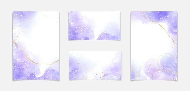 Lila lavendel flüssiger aquarellhintergrund mit goldenen linien