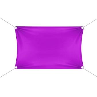 Lila leere leere horizontale rechteckige fahne mit eckenseilen.