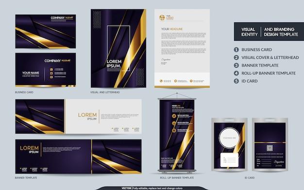 Lila luxusbriefpapier-markenset und visuelle markenidentität mit abstrakten überlappungsschichten