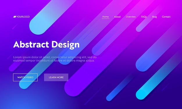 Lila mehrfarbige abstrakte diagonale linienform landing page hintergrund. bewegungsverlaufsmuster. kreatives weiches blaues tropfenelement für website-webseite. flache karikatur-vektor-illustration