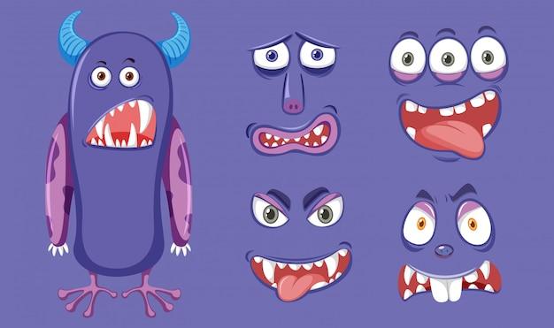 Lila monster mit unterschiedlichem gesichtsausdruck