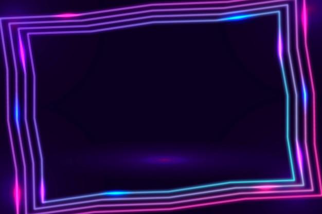Lila neonrahmen auf dunklem hintergrund