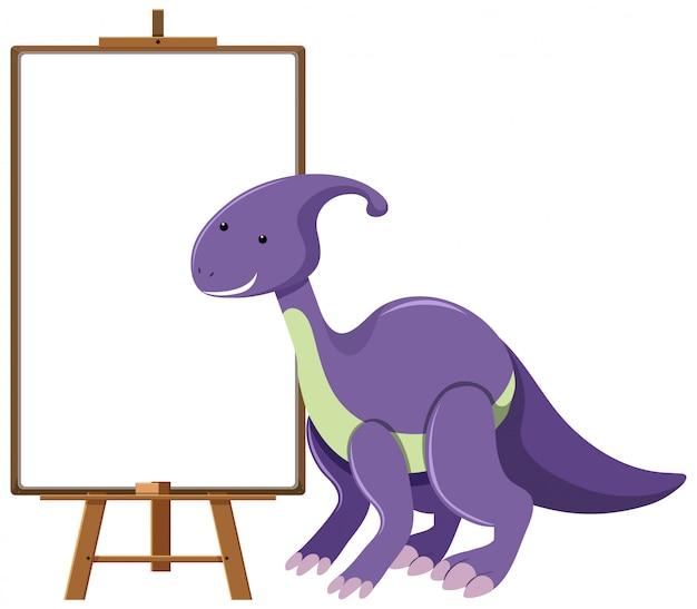 Lila niedlicher dinosaurier mit leerem banner lokalisiert auf weißem hintergrund