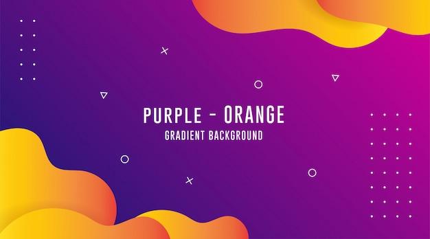 Lila - orange gradient abstrakte hintergründe, flüssige abstrakte hintergründe