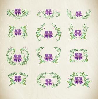 Lila ornamente mit rändern