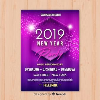 Lila party banner des neuen jahres 2019