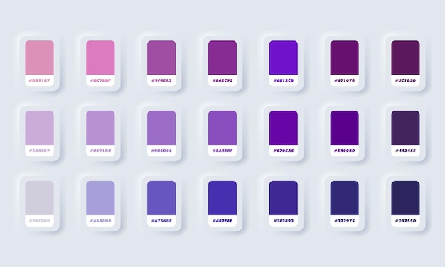 Lila pastellfarbpalette. katalogbeispiele lila in rgb hex. farbkatalog. neumorphic ui ux weiße benutzeroberfläche web-schaltfläche. neumorphismus.